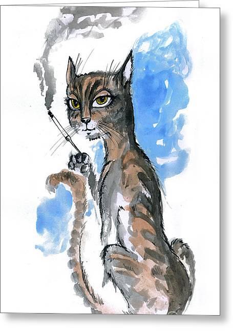 Cat Drawings Greeting Cards - Cool Pussycat Greeting Card by Angel  Tarantella