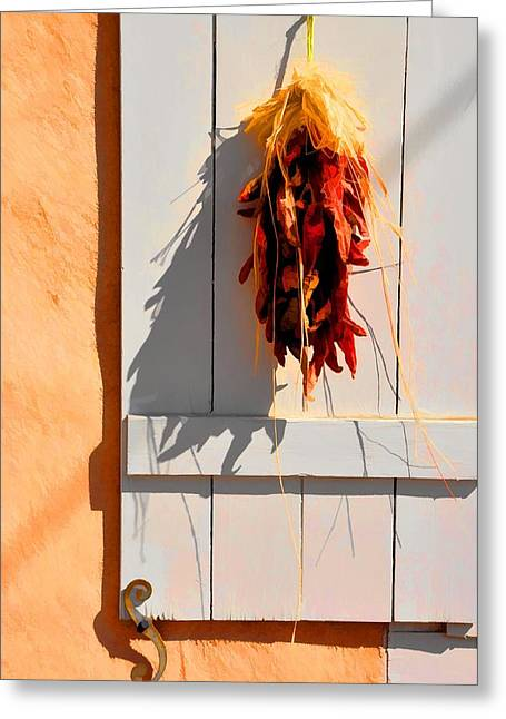 Chilies Greeting Cards - Cool Shadows Hot Chilies Greeting Card by Jan Amiss Photography