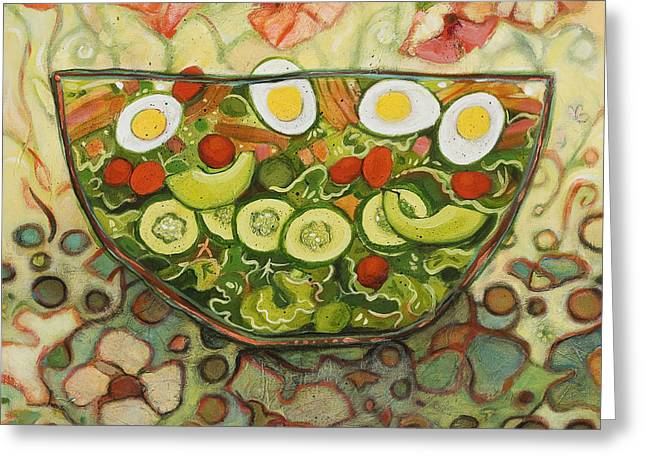 Food Art Paintings Greeting Cards - Cool Summer Salad Greeting Card by Jen Norton