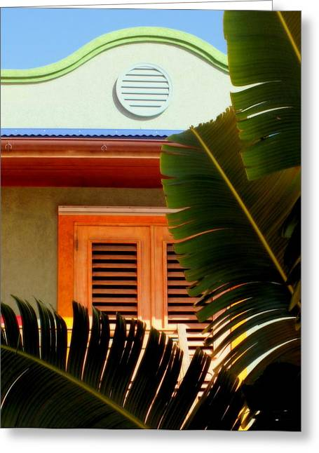 Color Green Greeting Cards - Cool Tropics Greeting Card by Karen Wiles