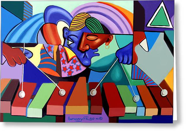 Cubist Digital Art Greeting Cards - Cool Vibes Greeting Card by Anthony Falbo