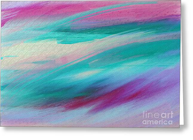 Blue Green Wave Greeting Cards - Cool Waves - Abstract - Digital Painting Greeting Card by Andee Design