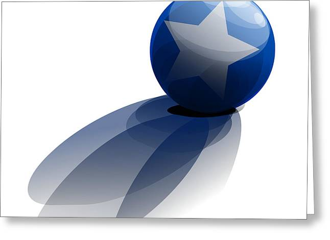 Blue Ball Decorated With Star Grass White Background Greeting Card by R Muirhead Art