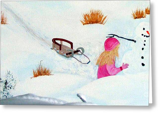 Tobogganing Greeting Cards - Cool  Winter Friend - Snowman - Fun Greeting Card by Barbara Griffin