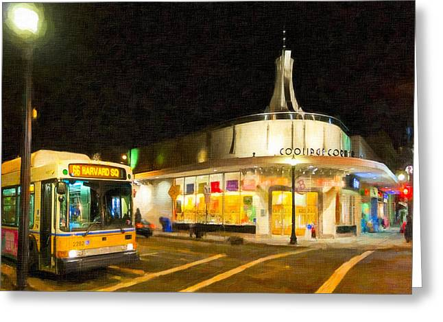 Coolidge Corner in Brookline at Night Greeting Card by Mark Tisdale