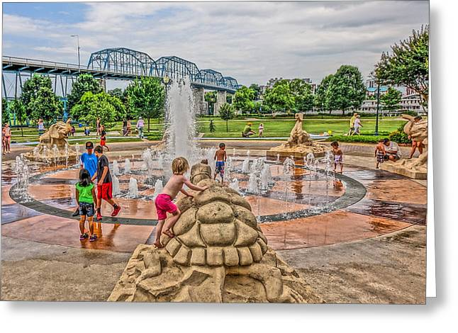Riverwalk Greeting Cards - Coolidge Park Fountain  Greeting Card by Tom and Pat Cory