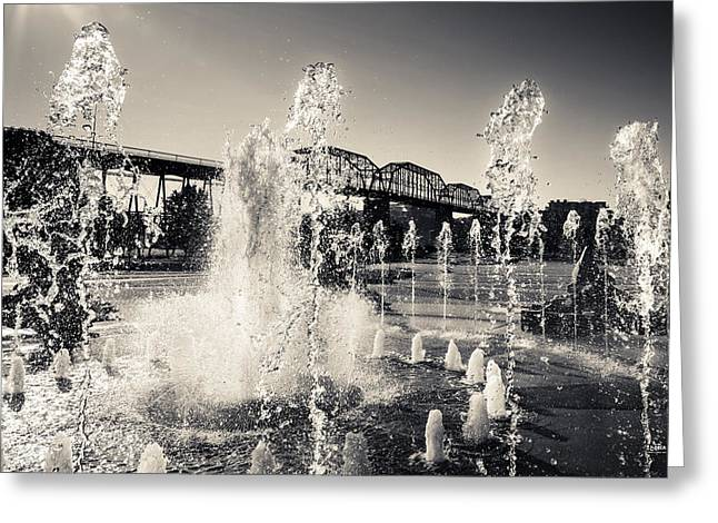 Coolidge Park Greeting Cards - Coolidge Park Fountains Greeting Card by Steven Llorca