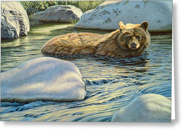 Wildlife Greeting Cards - Cooling Down Greeting Card by Paul Krapf