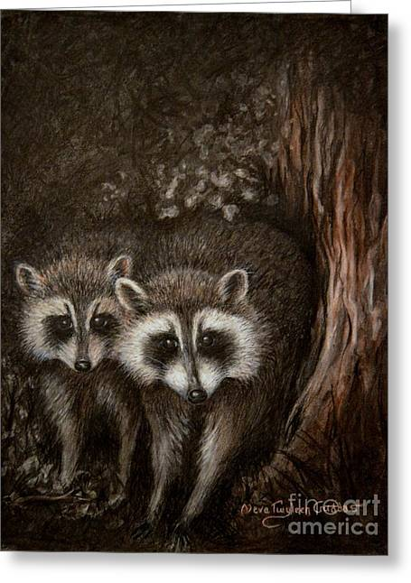 Feisty Greeting Cards - Coon Kin Greeting Card by Neva Cruddas
