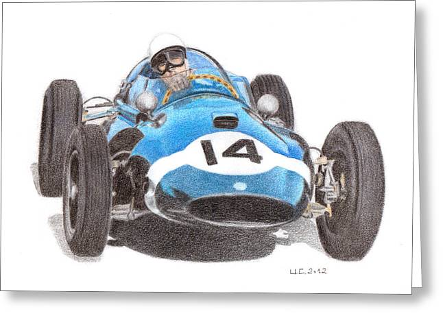Stirling Moss Greeting Cards - Cooper T51 Stirling Moss 1959 Greeting Card by Ugo Capeto