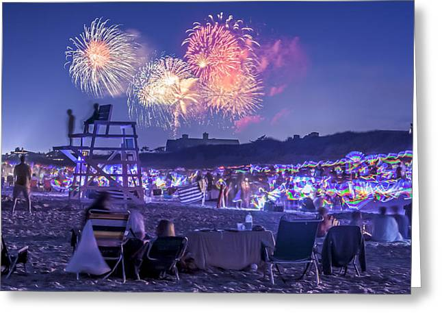 Purple Fireworks Greeting Cards - Coopers Beach Fireworks Greeting Card by Ryan Moore