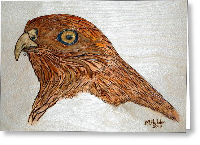 Preditor Pyrography Greeting Cards - Coopers Hawk Greeting Card by Mike Holder