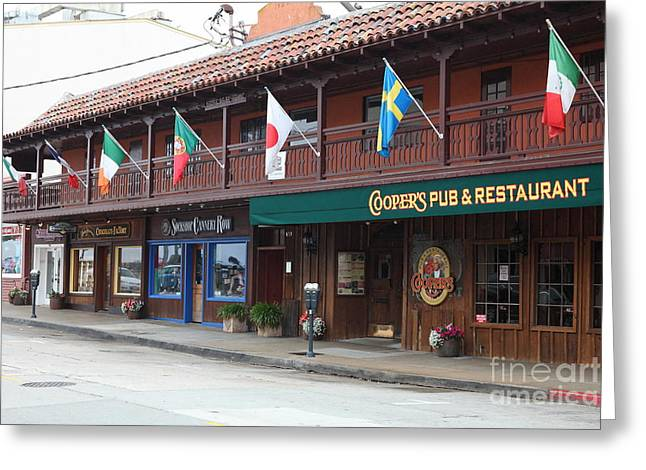 Monterey California Greeting Cards - Coopers Pub And Restaurant On Monterey Cannery Row California 5D24774 Greeting Card by Wingsdomain Art and Photography