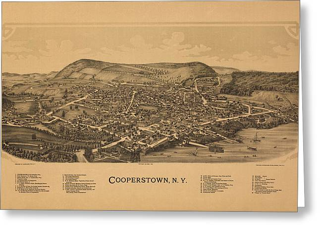 Cooperstown Greeting Cards - Cooperstown New York 1890 Greeting Card by Andrew Fare