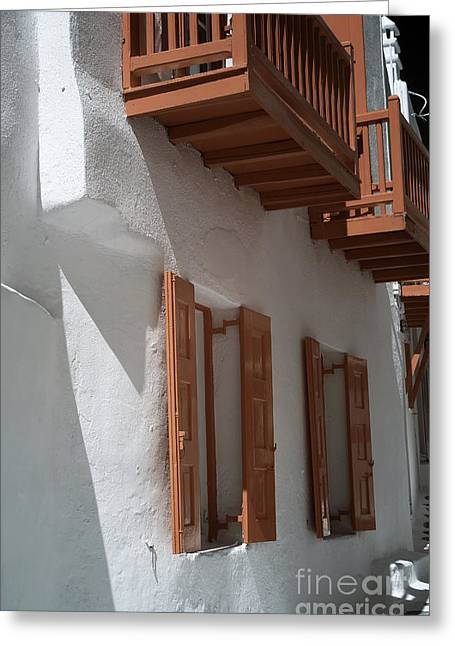 Coordinate Greeting Cards - Coordinated in Mykonos Town infrared Greeting Card by John Rizzuto