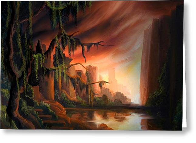 Pirates Paintings Greeting Cards - Cooridor of Light Greeting Card by James Christopher Hill