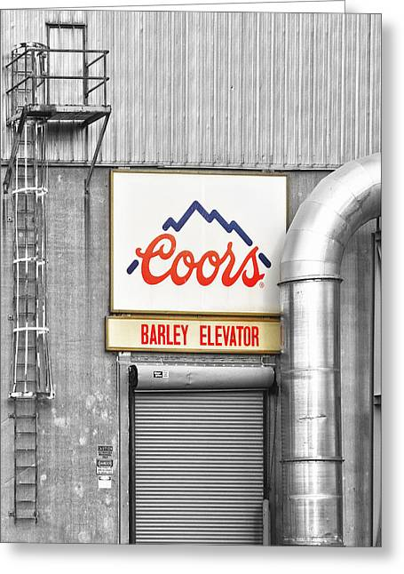 Coors Greeting Cards - Coors Barley Elevator BW Color Greeting Card by James BO  Insogna