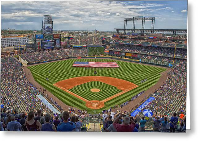 Recently Sold -  - Field. Cloud Greeting Cards - Coors Field - Home of the Colorado Rockies Greeting Card by Mountain Dreams