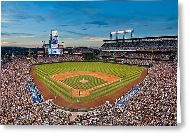 Ballfield Greeting Cards - Coors Field Greeting Card by Mark Whitt