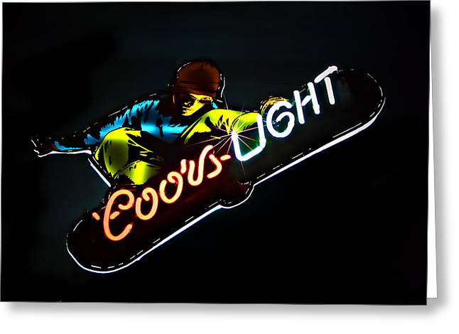 Snow Boarder Greeting Cards - Coors Light Greeting Card by Maria Coulson