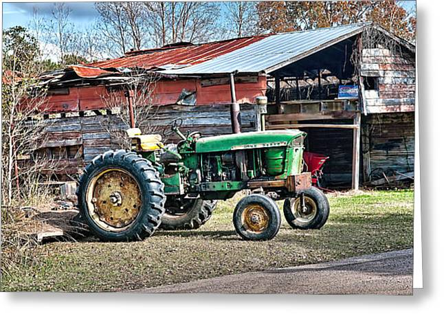 Scott Hansen Greeting Cards - Coosaw - John Deere Tractor Greeting Card by Scott Hansen