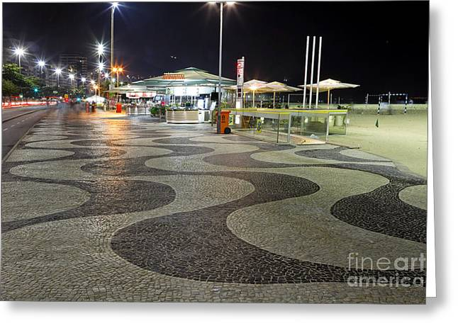 Food Kiosk Greeting Cards - Copacabana at Night  Greeting Card by George Oze