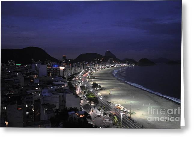 Atlantic Beaches Drawings Greeting Cards - Copacabana Beach Greeting Card by Arthur Right