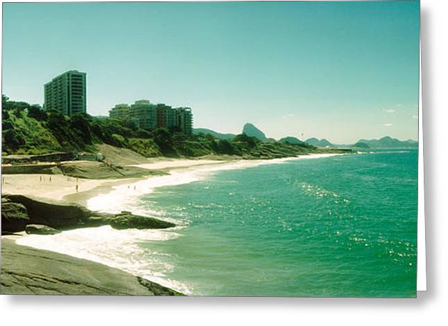Ocean Photography Greeting Cards - Copacabana Beach With Buildings Greeting Card by Panoramic Images