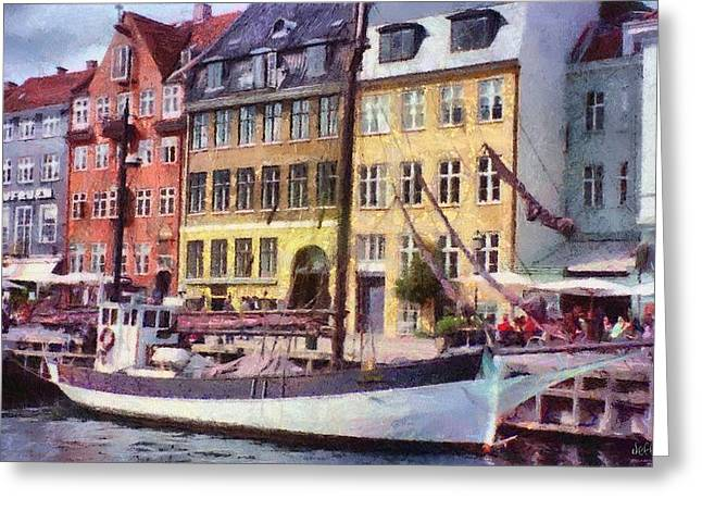 Yellow Sailboats Greeting Cards - Copenhagen Greeting Card by Jeff Kolker