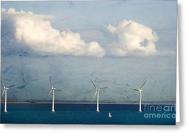 Blue Sailboats Photographs Greeting Cards - Copenhagen Wind Turbines Greeting Card by Joan McCool