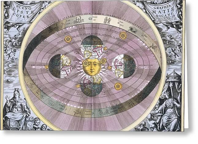 Macrocosmica Greeting Cards - Copernican worldview, 1708 Greeting Card by Science Photo Library