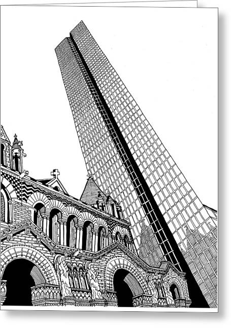 Boston Ma Drawings Greeting Cards - Copley Square Greeting Card by Conor Plunkett