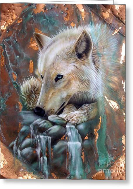 Copper Greeting Cards - Copper Arctic Wolf Greeting Card by Sandi Baker
