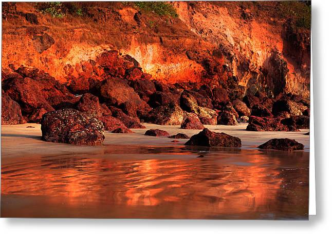 Lanscape Greeting Cards - Copper Beach. Bagmalo.Goa Greeting Card by Jenny Rainbow