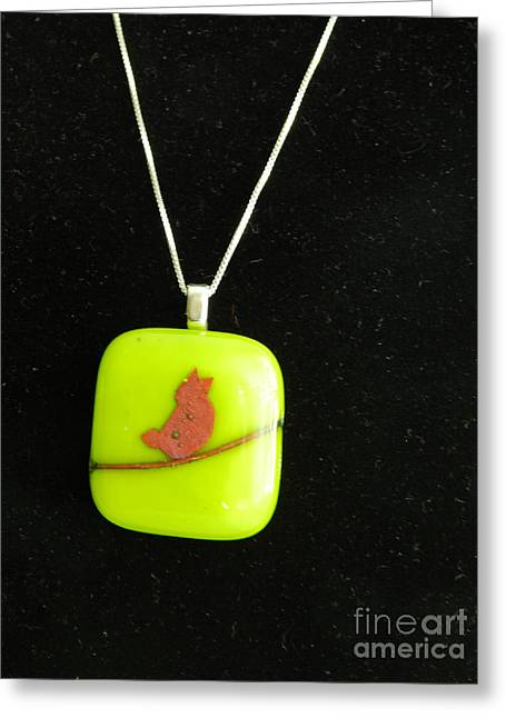 Birds Jewelry Greeting Cards - Copper Bird Pendant Greeting Card by Patricia  Tierney