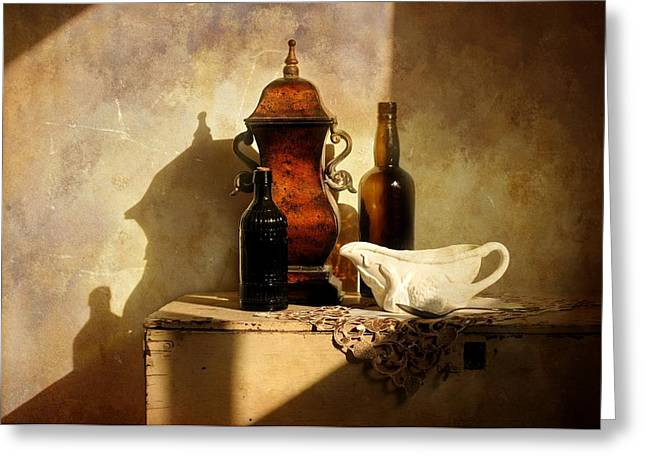 Still Life With Bottle Greeting Cards - Copper Canister Greeting Card by Diana Angstadt