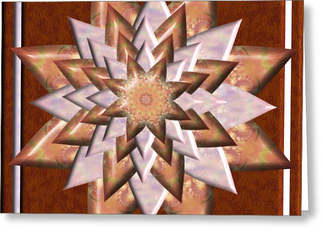 Layers Greeting Cards - Copper Daisy 3D Kaleidoscope Greeting Card by Charmaine Zoe