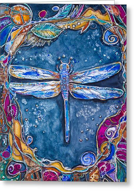 Patricia Mixed Media Greeting Cards - Copper Dragonfly Greeting Card by Patricia Allingham Carlson