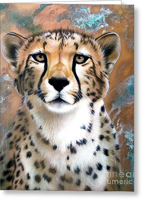 Copper Greeting Cards - Copper Flash - Cheetah Greeting Card by Sandi Baker