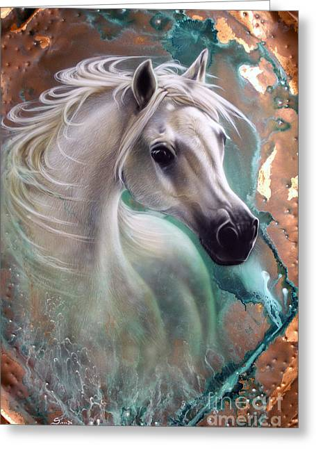 Copper Greeting Cards - Copper Grace - Horse Greeting Card by Sandi Baker