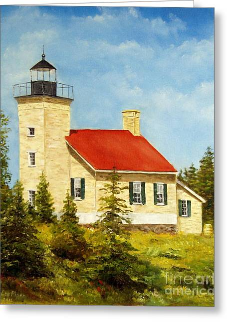 Copper Harbor Lighthouse Greeting Card by Lee Piper