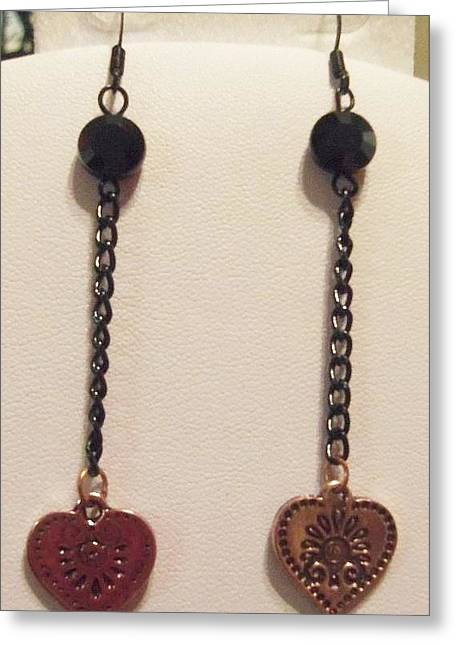 Heart Jewelry Greeting Cards - Copper Heart Earrings Greeting Card by Kimberly Johnson