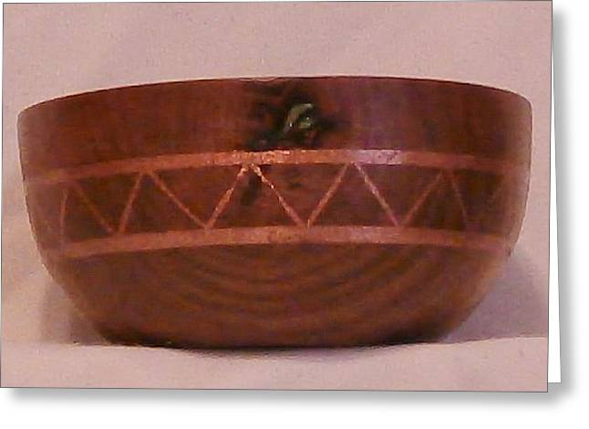Woodcarving Sculptures Greeting Cards - Copper Inlayed Avocado Bowl II Greeting Card by Russell Ellingsworth