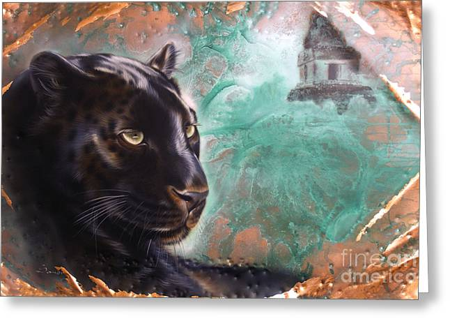Copper Greeting Cards - Copper Jaguar Greeting Card by Sandi Baker