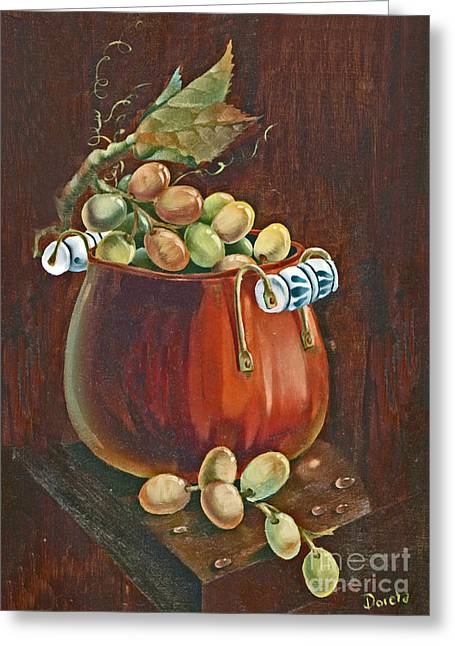 Old Plank Tables Paintings Greeting Cards - Copper Kettle of Grapes Greeting Card by Doreta Y Boyd