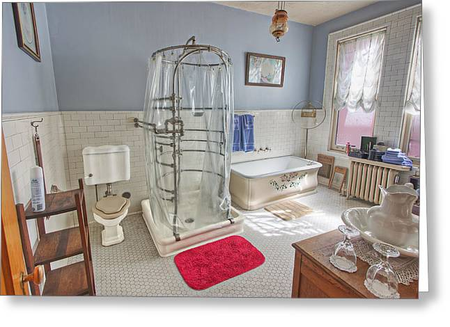 Shower Curtain Greeting Cards - Copper King Victorian Bathroom - Butte Montana Greeting Card by Daniel Hagerman