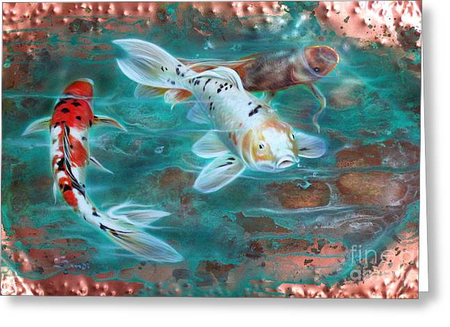 Copper Greeting Cards - Copper Koi Greeting Card by Sandi Baker