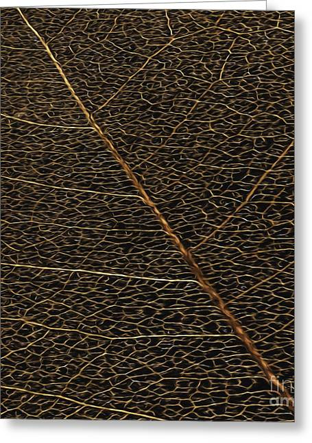 Single-celled Greeting Cards - Copper Leaf Greeting Card by Jean OKeeffe Macro Abundance Art
