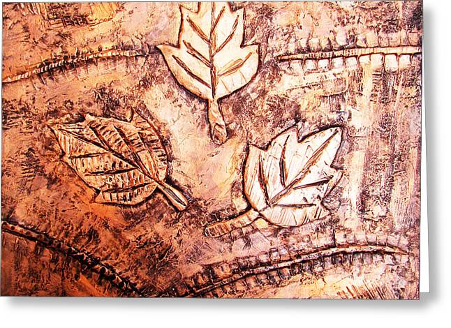 Beautiful Reliefs Greeting Cards - Copper Leaves Embossed Greeting Card by Abhishek Das