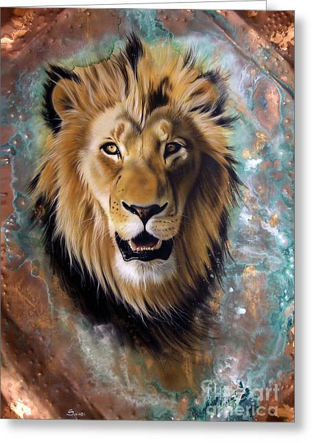 Copper Greeting Cards - Copper Majesty - Lion Greeting Card by Sandi Baker